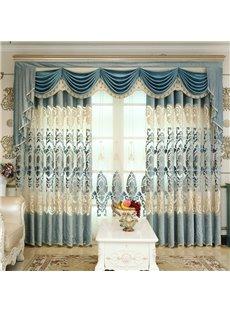 Royal Design Embroidery Light Blue Drapes Grommet 2 Panels for Living Room