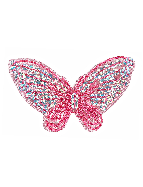 Kostuemzubehor Aufnaeher Schmetterling Pailletten rosa 2-tlg.