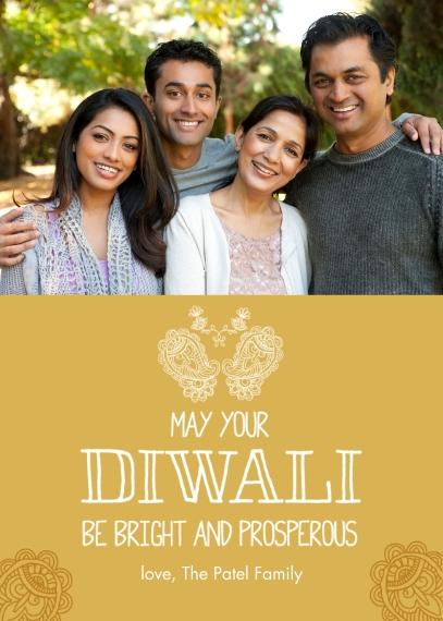 Diwali Cards Mail-for-Me Premium 5x7 Folded Card , Card & Stationery -Bright Diwali
