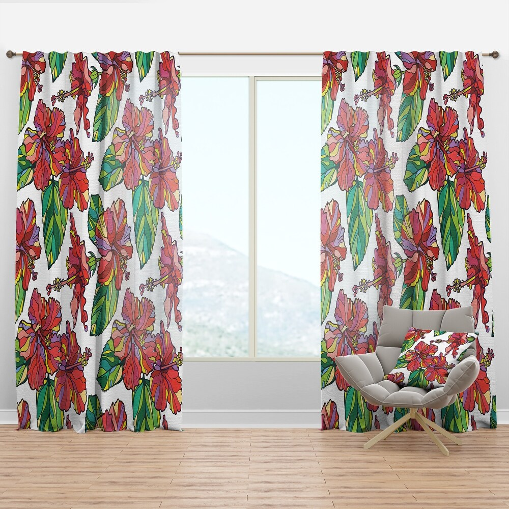 Designart 'Hibiscuses Floral Pattern' Tropical Curtain Panel (50 in. wide x 95 in. high - 1 Panel)