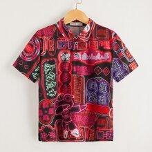 Polo Shirt mit chinesischen Schriften Grafik