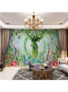 3D Green Elks and Colorful Plants Printed Decorative 2 Panels Custom Sheer