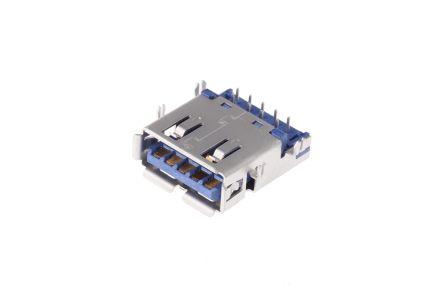 Wurth Elektronik , WR-COM USB Connector, Through Hole, Socket 3.0 A, Solder, Right Angle