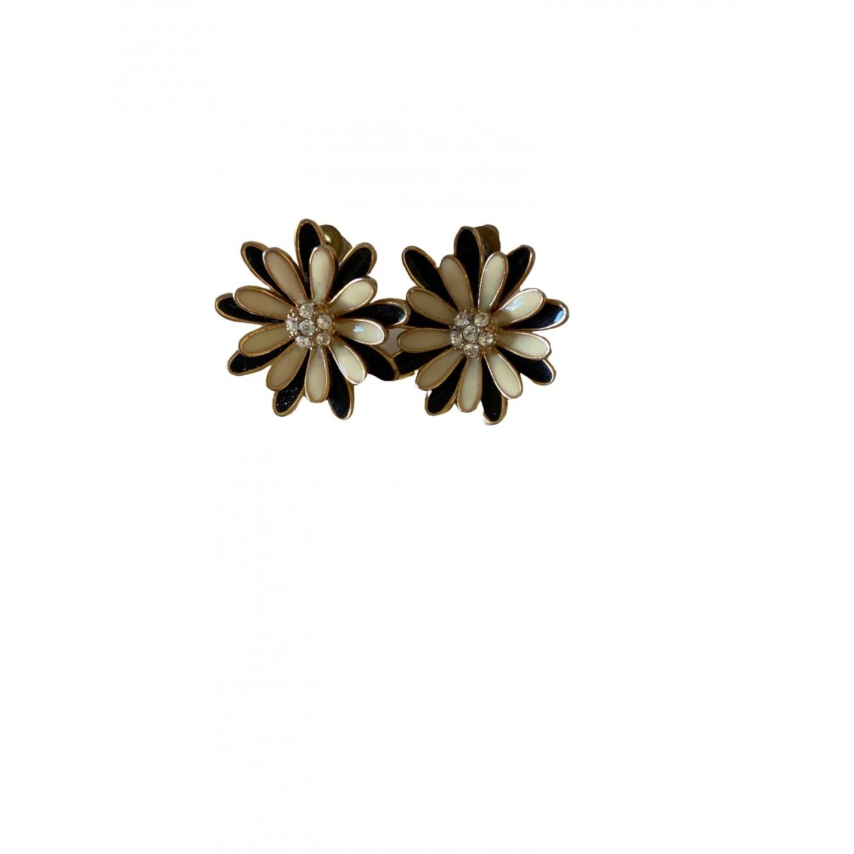 Non Signé / Unsigned Motifs Floraux Black Silver Earrings for Women \N