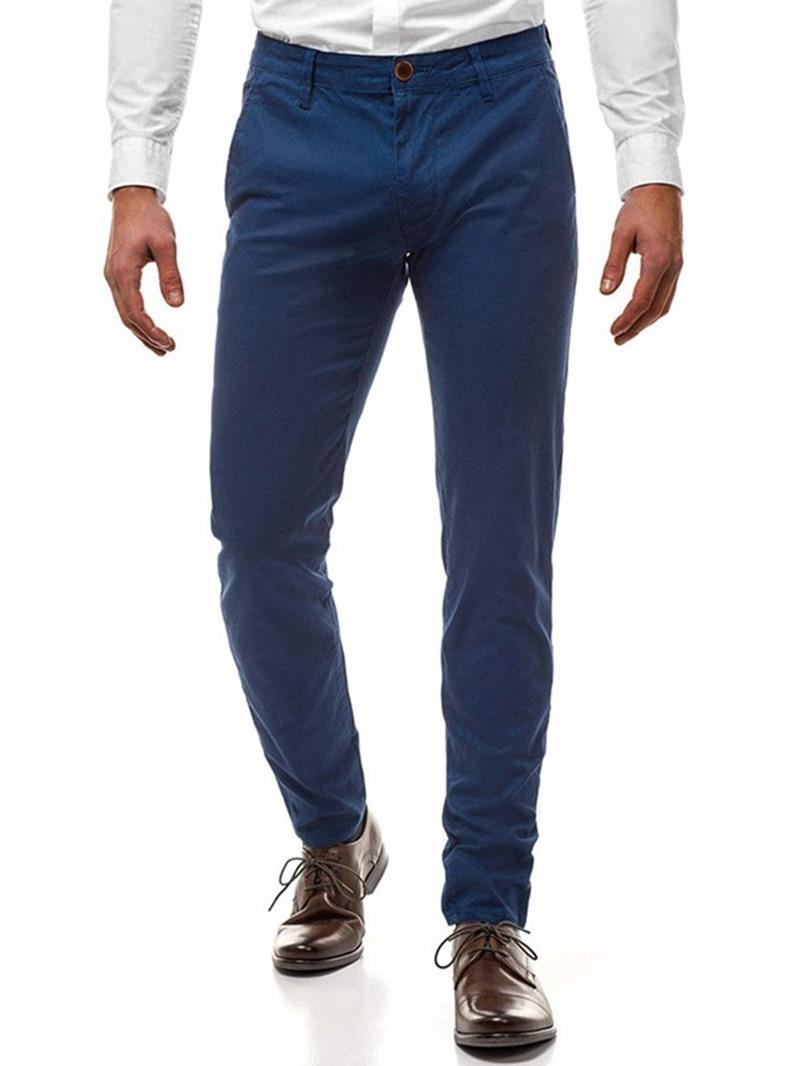 Ericdress Button Plain Mid Waist Men's Casual Pants