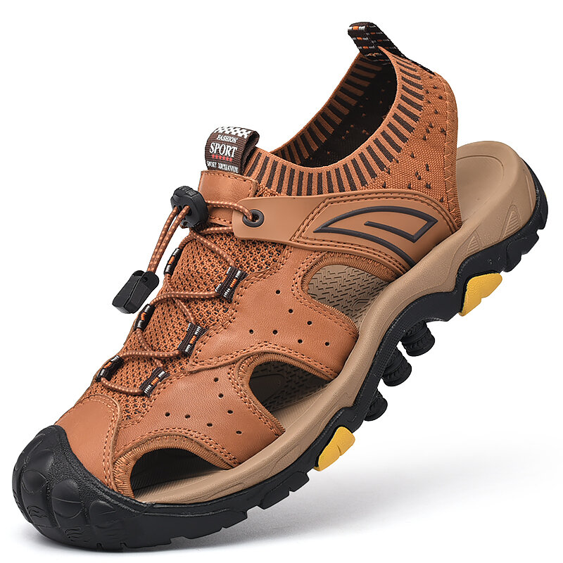 Men Genuine Cow Leather Anti-collision Toe Outdoor Hiking Sandals