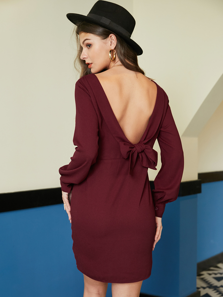 YOINS Burgundy Long Sleeves Backless Design Knotted Dress