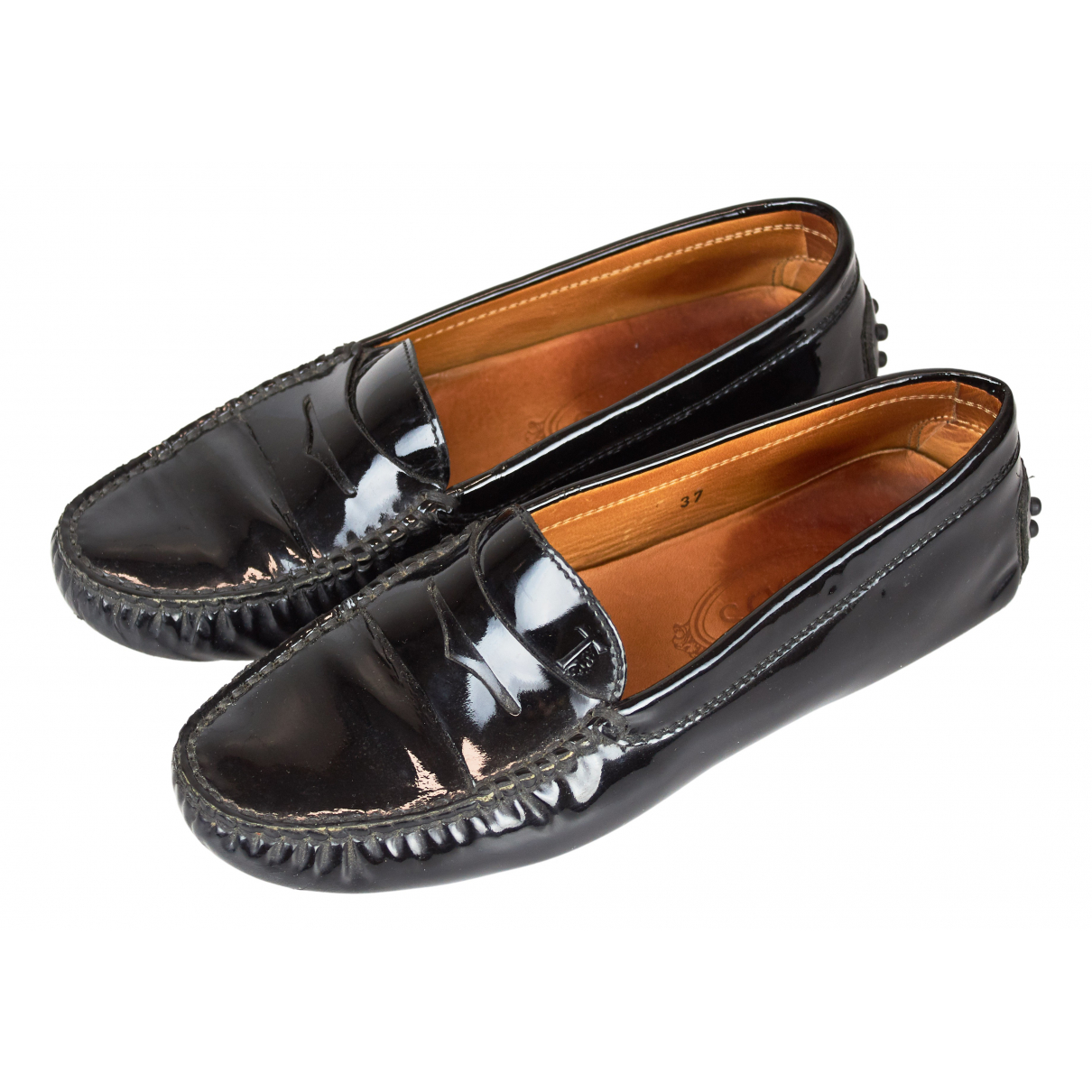 Tod's Gommino Black Patent leather Flats for Women 37 EU