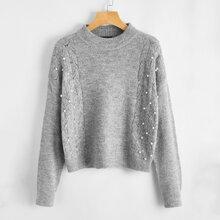 Pullover mit sehr tief angesetzter Schulterpartie und Perlen