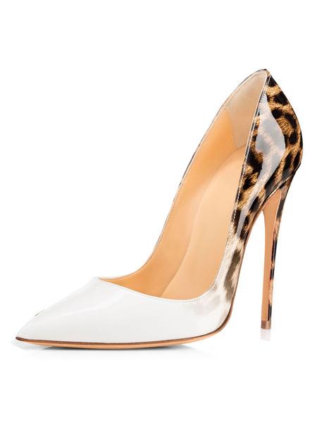 Milanoo White High Heels Women Dress Shoes Pointed Toe Leopard Stiletto Heel Slip On Pumps