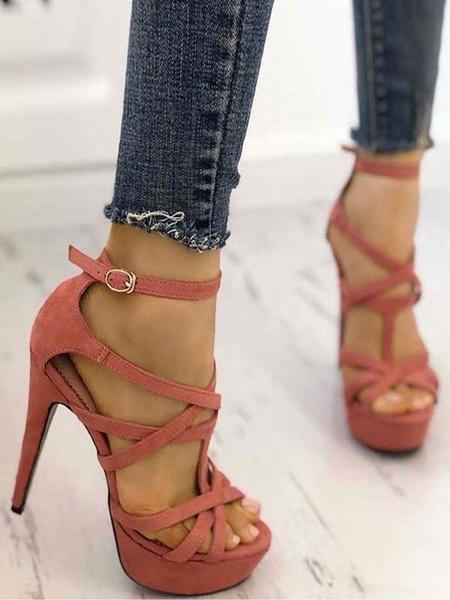 Milanoo Platform High Heel Sandals Womens Peep Toe Criss Cross Ankle Strap Stiletto Heels Sandals