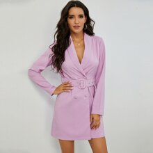 Shawl Collar Double Breasted Belted Blazer Dress