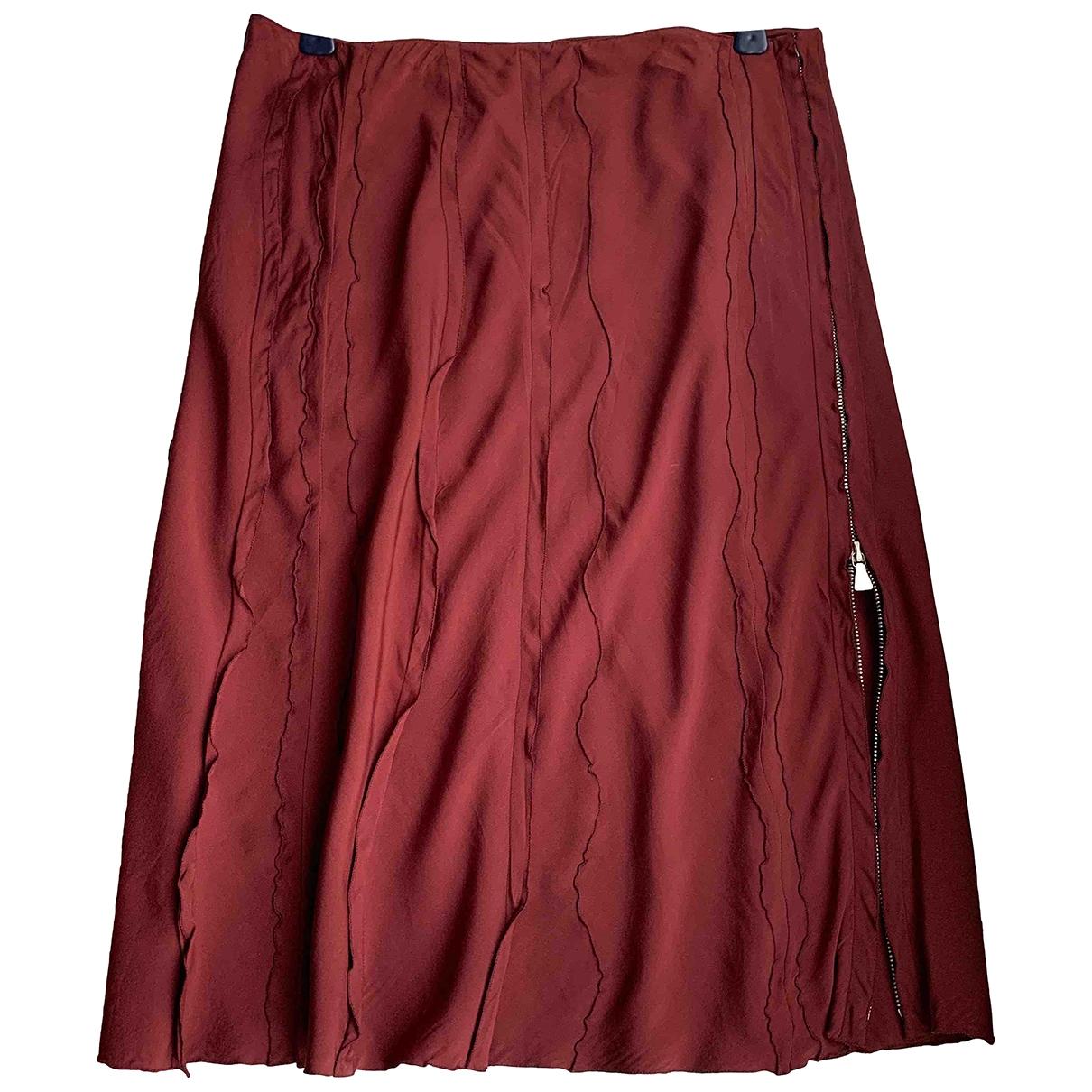 Prada \N Burgundy Silk skirt for Women 42 IT