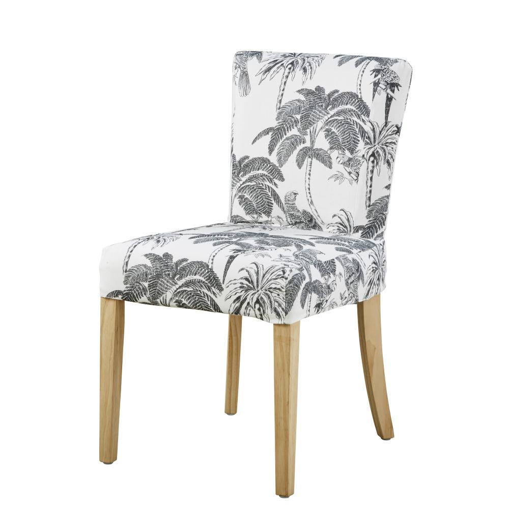 Stuhlbezug aus weisser Baumwolle mit Palmendruck