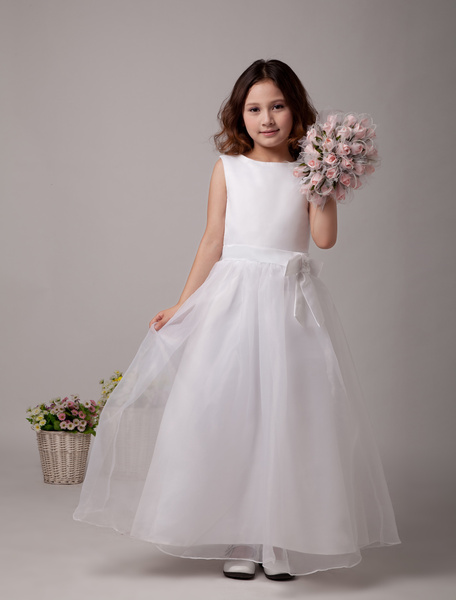 Milanoo White Flower Girl Dresses A Line Kids Bows Sash Bateau Neck Ankle Length First Communion Dress