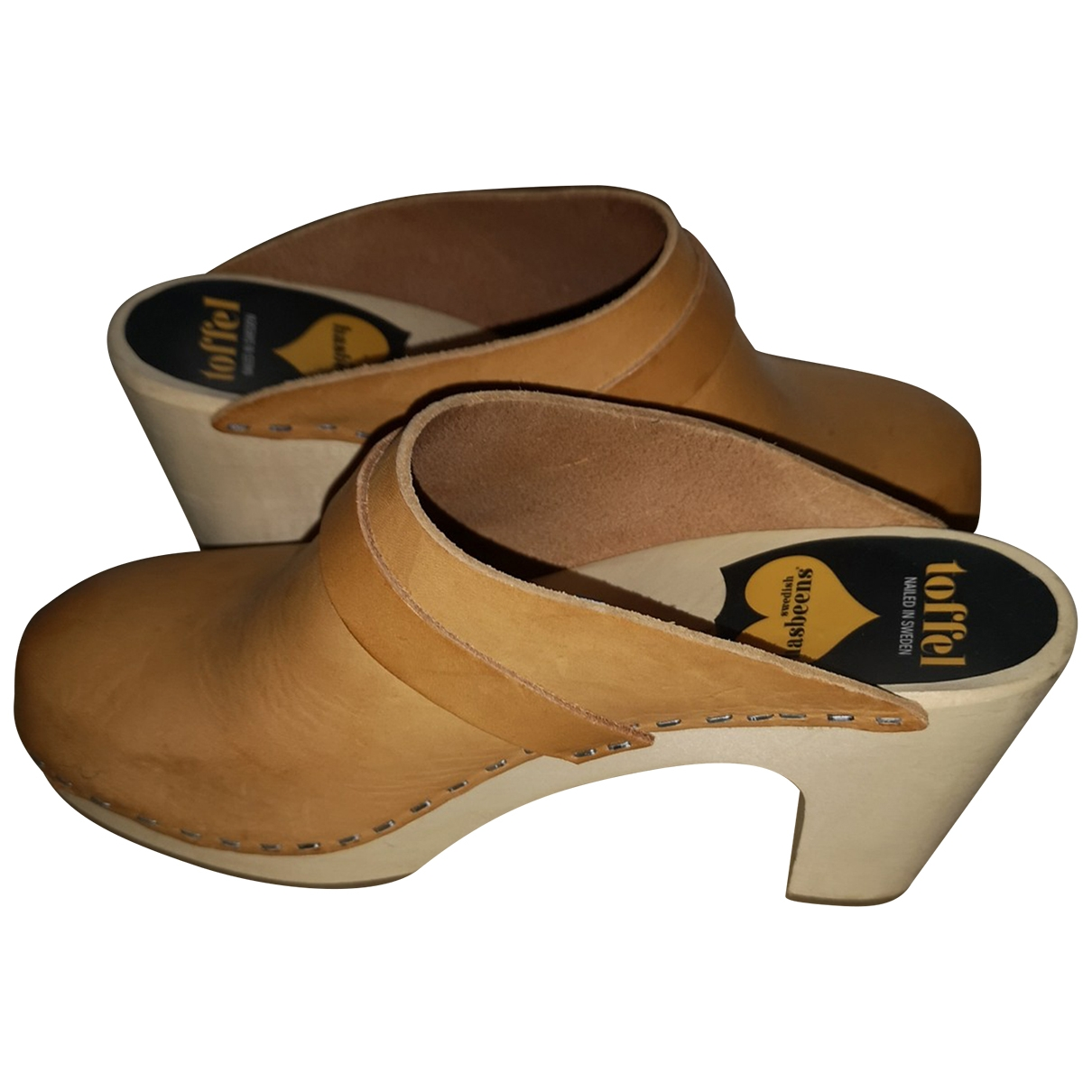 Swedish Hasbeens \N Leather Mules & Clogs for Women 38 EU