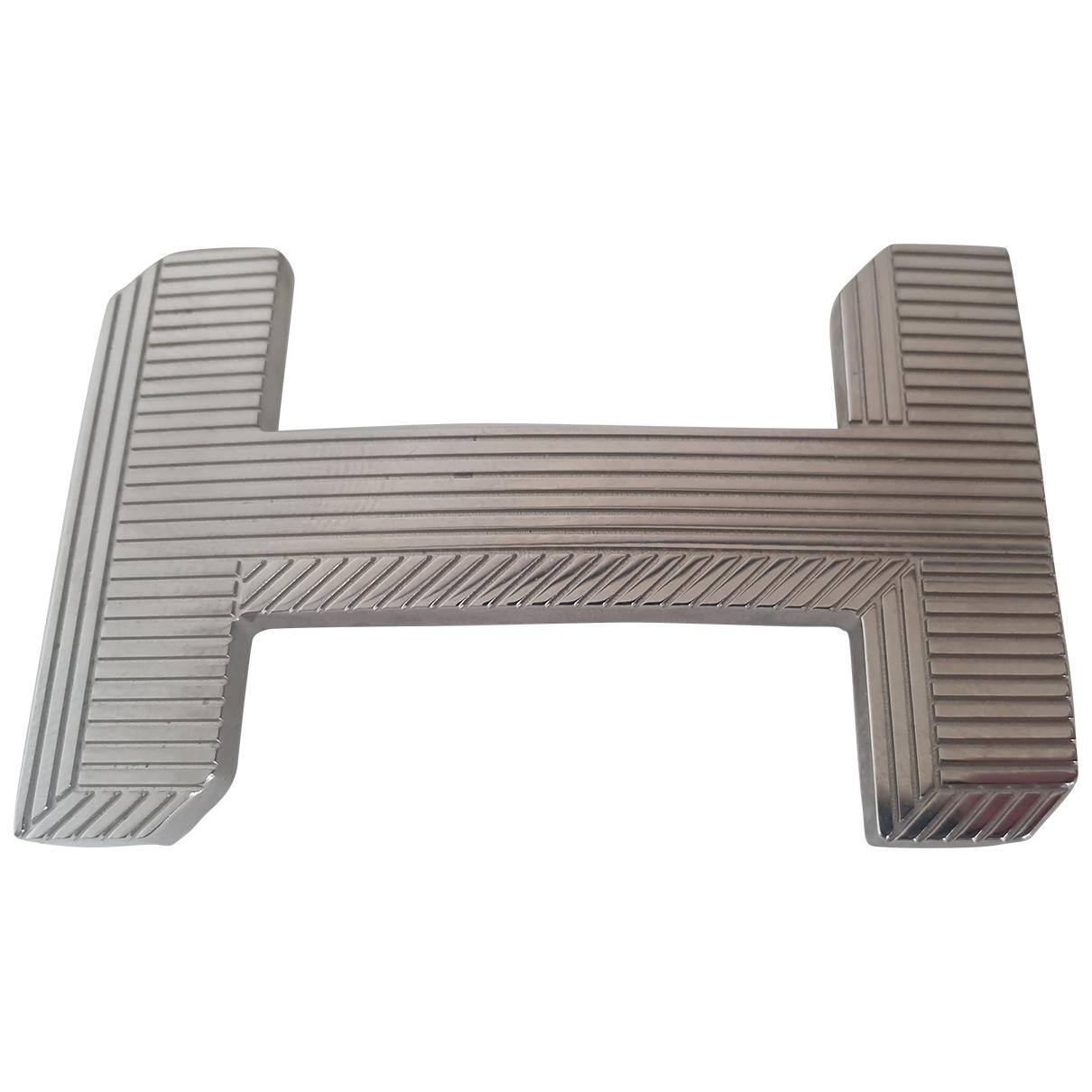 Hermès Boucle seule / Belt buckle Silver Metal belt for Women 70 cm