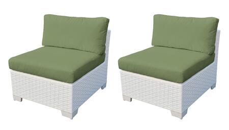 Collection TKC017b-AS-DB-CILANTRO Monaco Armless Chair 2 Per Box - Sail White and Cilantro
