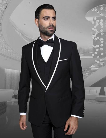 Mens Trimmed Shawl Lapel Blazer Dinner Jacket Black Vested Sport Coat