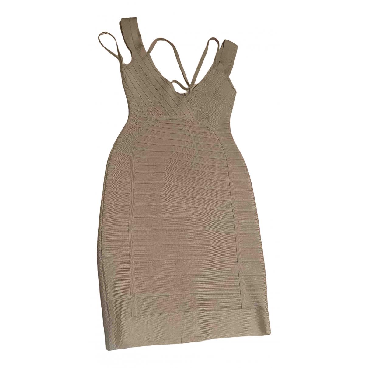 Herve Leger \N Kleid in  Beige Baumwolle - Elasthan