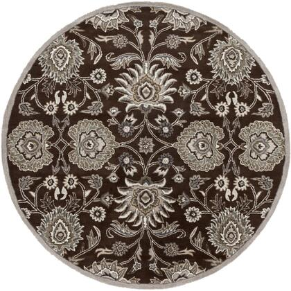 Caesar CAE-1063 4' Round Traditional Rug in Dark Brown  Taupe  Khaki  Medium Grey