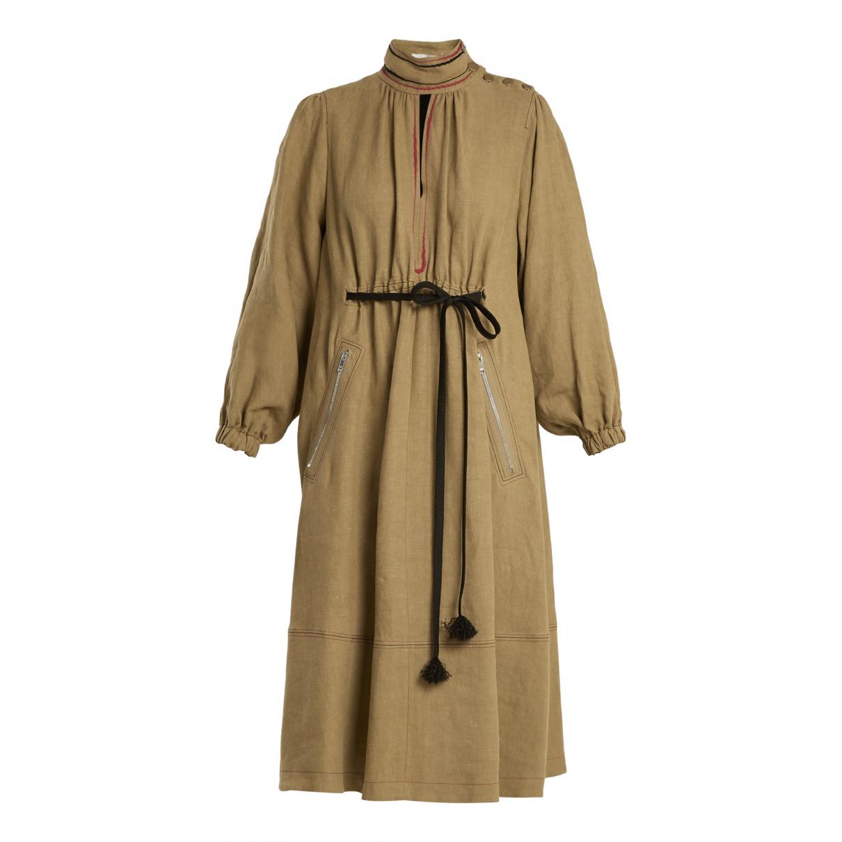 Sonia Rykiel \N Kleid in  Khaki Leinen