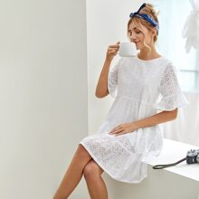 Flounce Sleeve Solid Schiffy Dress