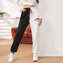 Knot Waist Two Tone Letter Graphic Pants