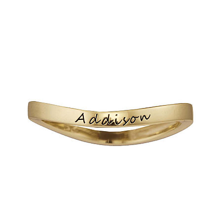 Personalized Curved Stackable Ring, 7 , Yellow