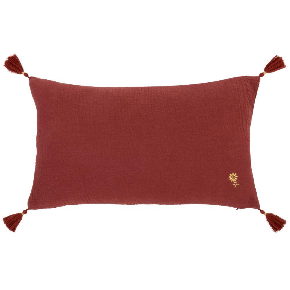 Kissenbezug aus Baumwollgaze, bordeauxrot 50x30