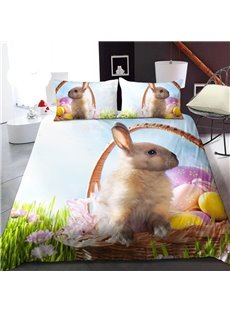 Cute Rabbit on The Grass 3D Printed Polyester 1-Piece Warm Quilt