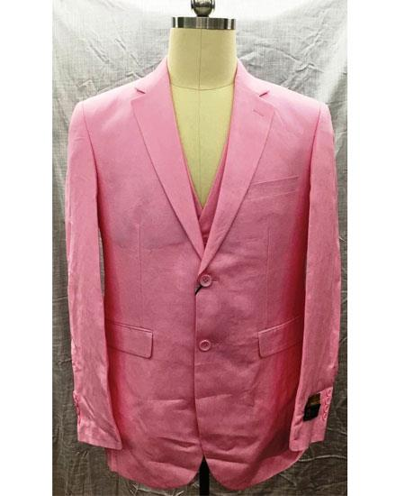 Men's Single Breasted Linen 2 Button Notch Lapel Pink Vest Suit
