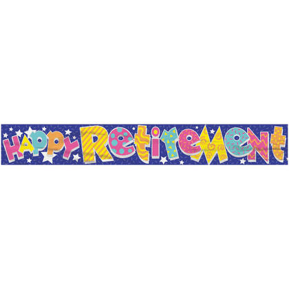 Foil Happy Retirement Banner for Office Retirement Party Decoration, 12ft