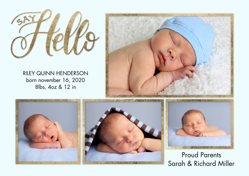 Baby Announcements 5x7 Cards, Premium Cardstock 120lb with Rounded Corners, Card & Stationery -Baby Gold Borders by Tumbalina