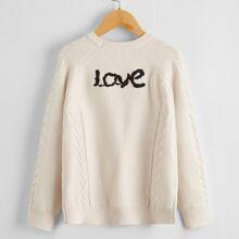 Pullover mit Buchstaben Stickereien und Raglanaermeln