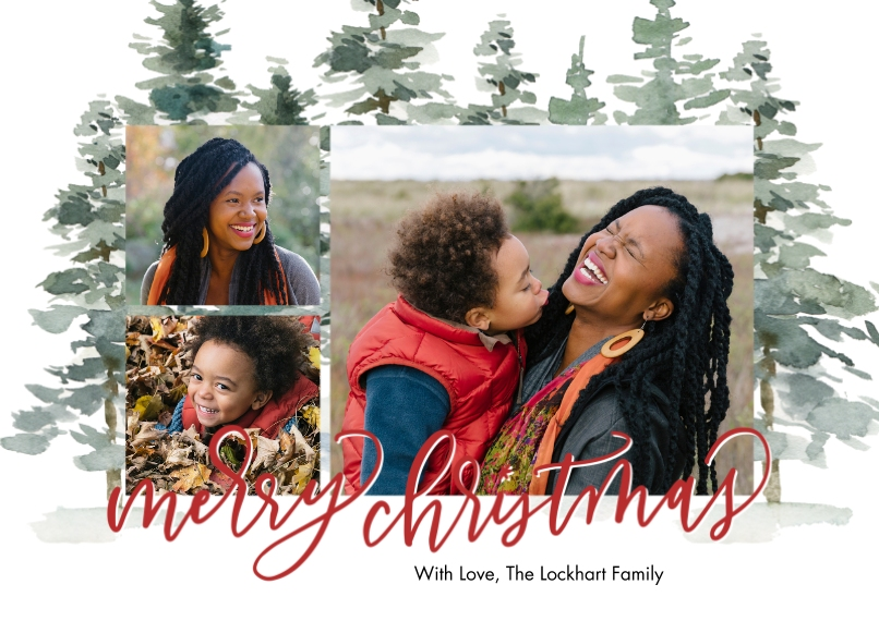 Christmas Photo Cards 5x7 Cards, Premium Cardstock 120lb with Rounded Corners, Card & Stationery -Christmas Evergreen Memories by Tumbalina