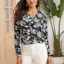 Allover Floral Print Blouse
