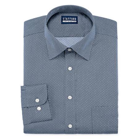 Stafford Mens All Season Coolmax Mositure Wicking Dress Shirt, 17-17.5 34-35, Blue