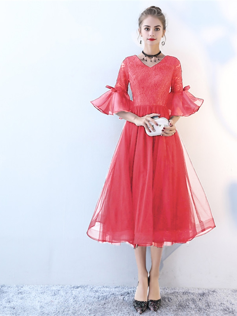 Ericdress A Line 3/4 Sleeve Lace Tea Length Lace Black Prom Dress