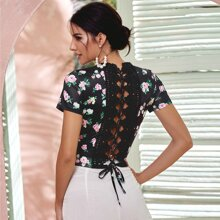 Guipure Lace Lace Up Back Floral Tee