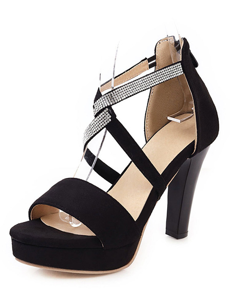Milanoo Sandalias de plataforma para mujer Chunky Heel Criss-Cross Open Toe Plus Size Black Shoes