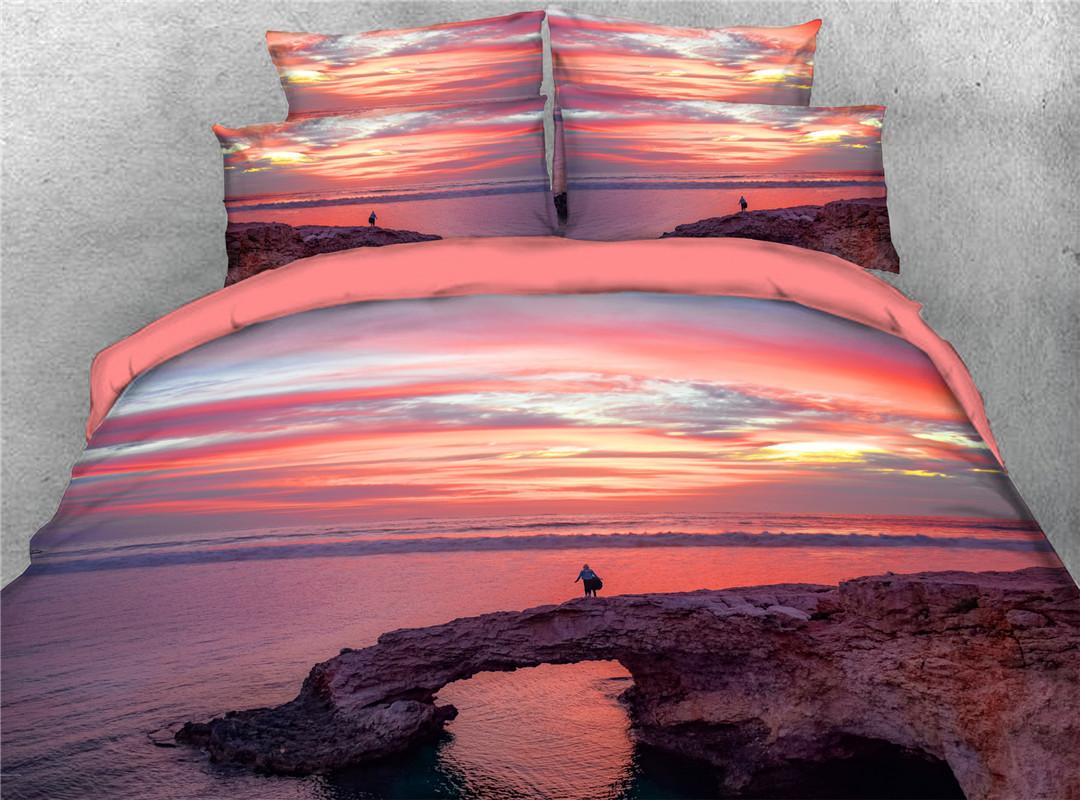 Seabeach Endurable Skin-friendly Comforter Set Hand Wash Five-Piece Set Polyester Bedding Sets