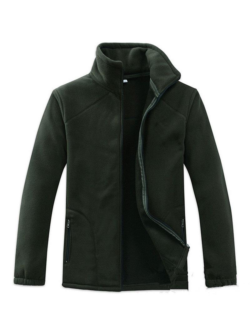 Ericdress Plain Zipper Stand Collar Mens Casual Loose Hoodies