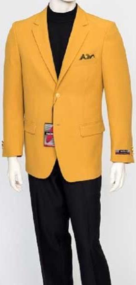 Men's Notch Lapel Single Breasted Fit Mustard Gold 2 Button Jacket