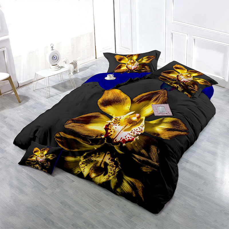 Blooming Golden Flower Wear-resistant Breathable High Quality 60s Cotton 4-Piece 3D Bedding Sets