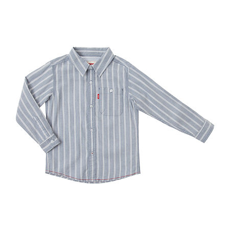 Levi's Big Boys Long Sleeve Button-Down Shirt, Small , Blue