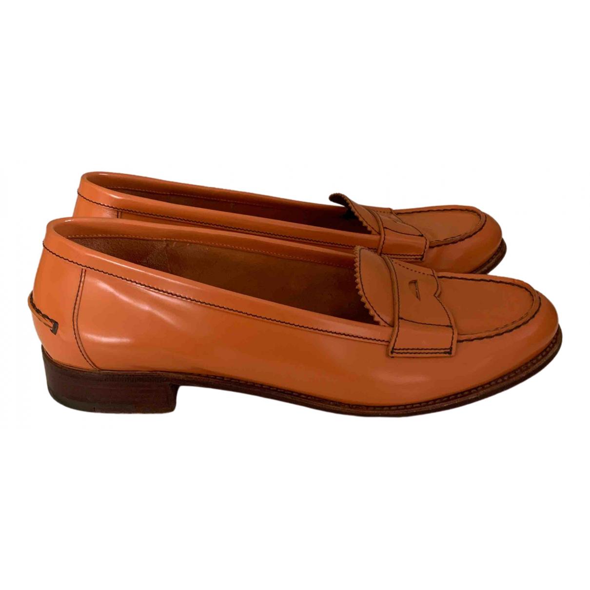 Prada \N Orange Leather Flats for Women 41 IT