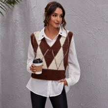 Argyle Pattern Fluffy Knit Sweater Vest