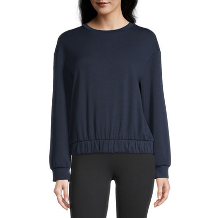 Stylus Elastic Bottom Womens Crew Neck Long Sleeve Sweatshirt, X-small , Blue