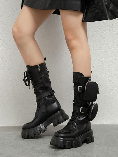Milanoo Mid Calf Boots Black Round Toe Side Pocket Fashion Womens Boots